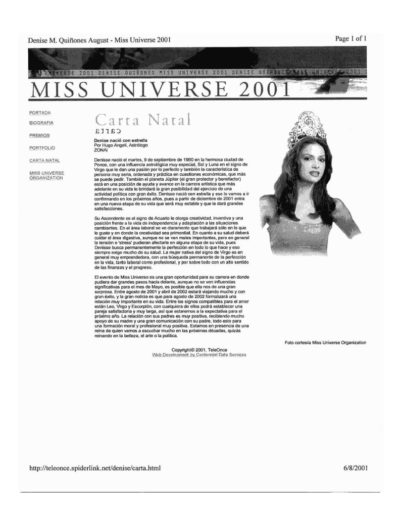 carta natal de miss universo 2001